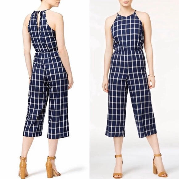 Maison Jules Womens Checked Wide-Leg Cropped Pants